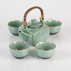 Celadon Tea Set, Japanese Teapot - I love the colour of this