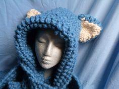 """Scoodie ,, Blue Cat"""" von Maschenpunk auf DaWanda.com"""