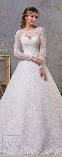 Amelia Sposa Fall 2018 Wedding Dresses | Lace ball gown wedding dress with long sleeves | Princess bridal gown | Winter Wedding gown #weddingdress #weddingdresses #bridalgown #bridal #bridalgowns #weddinggown #bridetobe #weddings #bride #weddinginspiration #dreamdress #fashionista #weddingideas #bridalcollection #bridaldress #fashion #bellethemagazine #ido #dress