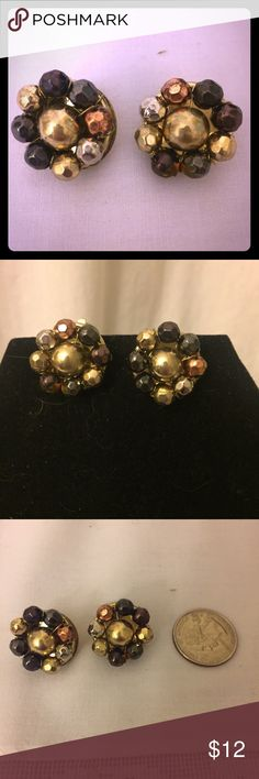 Vintage Gold Metallic Beaded Clip On Earrings Vintage Circle Gold Metallic Beaded Clip On Cluster Earrings! In great condition! Bundle & Save $! See comments for more info about discounts and shipping etc 😃Bundle 3 plus listings for a discount 😃For every 4 items you buy, get one under 10$ for free 😊All listings Crossposted on multiple sites-don't wait to buy if you love it 🚐I always ship same or next business day. Vintage Jewelry Earrings