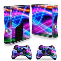 Protective Vinyl Skin Decal Cover for Microsoft Xbox 360 S Slim + 2 Controller Skins Sticker Skins Light waves $14.99 Your #1 Source for Video Games, Consoles & Accessories! Multicitygames.com