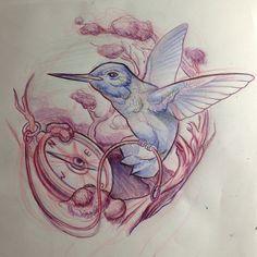 .@t_barnett_art | hummingbird compass sketch