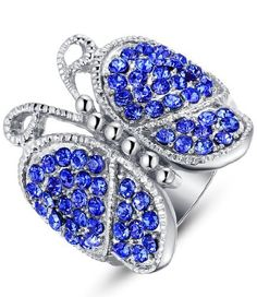 Ai Stainless Steel Jewelry – Anillo mariposa hecho con acero inoxidable, color azul