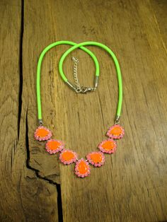 Teardrop Crystals with Neon Pink Pave with Neon Green Cord