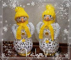 Поделка изделие Новый год Плетение Снеговики Бумага фото 1