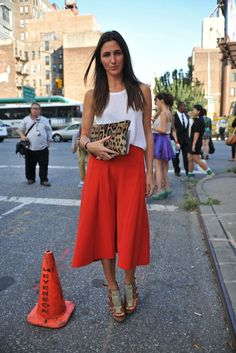 Casual street style with red mini skirt and white top