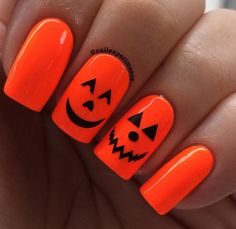 Neon pumpkin Halloween nail art