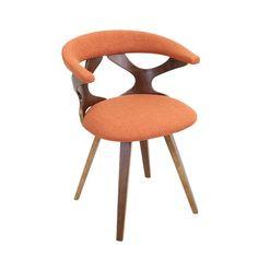 LumiSource Gardenia Mid Century Modern Walnut Wood Accent Chair (Gardenia  Chair Green) (Polyester Blend)