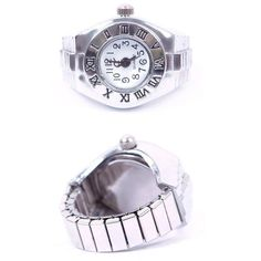 Creative Lady Girl Steel Roman Number Elastic Quartz Finger Ring Watch  | eBay