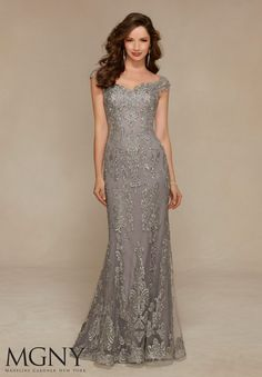 Evening Gowns and Mother of the Bride Dresses by Morilee. Net with Beaded and Embroidered Appliqués Evening Gown