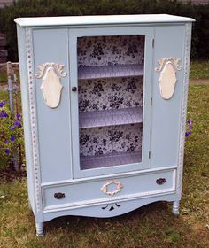 French cottage china cabinet.  Legs cut down to lower height....adorable