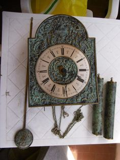 """Pendule murale ancienne marqué""""HURGOT MADE IN GERMANY NO JEWELS UNADJUSTED""""!"""