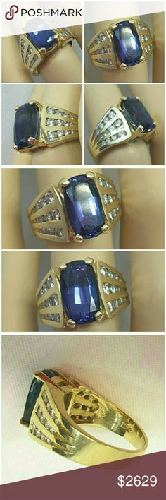 2ct TANZANITE with .5ct DIAMONDS RING 2ct TANZANITE with. 5ct DIAMONDS RING in 14k Yellow Gold, approximately size 6, stunning clear purple color, prong set, three rows of 4 round cut diamonds in each row on both shoulders, total weight 8.8 grams. Very heavy, solid, thick wide gold band. Exquisite! Items  $500 are automatically shipped to Posh Concierge for authentication before sent to buyer. Reasonable offers through the Offer button only, not in comments. Jewelry Rings