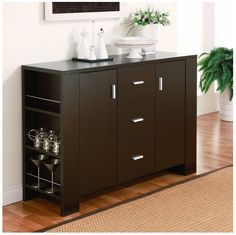 Bar Wine Wood Dining Buffet Storage Cabinet Server Kitchen Room Furniture w/adjustable  shelves and pocket shelves with metal guards. The warm and inviting dark wood tone cappuccino finish of this buffet. Only a Few In Stock, Buy Now! Product Details: Number of drawers: Three (3) Number of cabinets: Two (2) Number of shelves: Four (4)