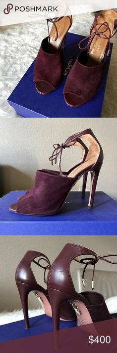 Aquazurra Estelle Ankle Tied Sandals • Aquazurra Estelle Sandals • Ankle ties • Suede and leather combination  • Color : Prune • Come with original dust bag and box • In excellent condition as only been worn twice • Please ask all questions before making an offer / purchasing. Aquazzura Shoes Sandals