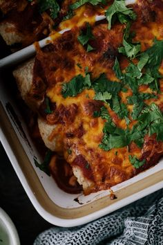 Vegetarian Sweet Potato Enchiladas with Spiced Pinto Beans