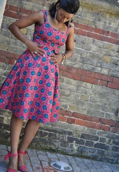 Fit and flare African Print dress in pink and blue hues