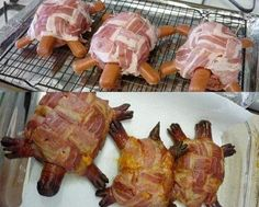 Another use for Bacon Weave: Red-neck Turtle Burgers. Handmade ground beef patties, topped with sharp cheddar cheese, wrapped in a bacon weave, with hotdogs for the head and legs Cover loosely with foil and bake 25 min. at 400 degrees. Turtle Burger, Mock Turtle, Pet Turtle, Bacon Hot Dogs, Bacon Weave, Good Food, Yummy Food, Fun Food, Tasty