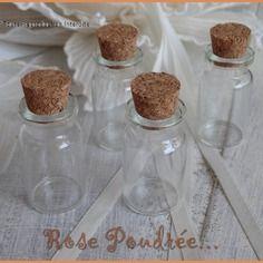 5 fioles  bouteilles 40x22mm en verre avec bouchon en liège