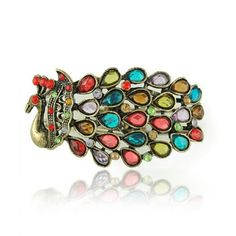 Peacock Multicolour Crystal Kada for Women - Online Shopping for Bracelets n Bangles by Champa Qali