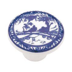 Liberty Hardware Delft Blue China Design Cabinet Knob - PN0813V-WB-C