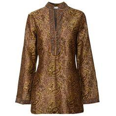 East Artisan Harewood Paisley Chanderi Tunic, Gold, 14 ($62) ❤ liked on Polyvore