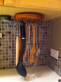 DIY Rotating Lazy Susan Upside Down Under Cabinet Utensil Holder