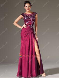 142.00$  Watch now - http://vilcn.justgood.pw/vig/item.php?t=boqk4qi21362 - Dark Fuchsia Beateau Neck Appliqued Illusion Neckline Prom Dresses With Split 142.00$