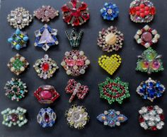 Collection of 25 Czech Vintage Style Glass Rhinestone Buttons Lots Colors 59 | eBay