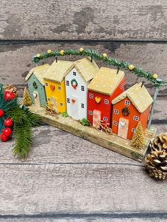 Original Christmas Ornament designed and made by The SeaSalt Shed This beautiful Christmas ornament has been lovingly hand crafted used salvaged wood and driftwood. This bright and vivid street has an array of colourful Christmas houses each featuring Chr Christmas Classroom Door, Christmas Front Doors, Christmas Home, Christmas Crafts, Christmas Ornaments, Christmas Wreaths, Christmas Door Decorating Contest, Easy Christmas Decorations, Small Wooden House