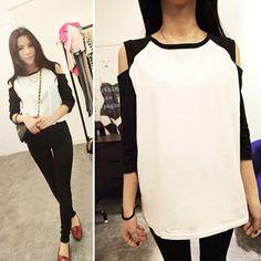 $3.21New Fashion Korean Women's Top Off Shoulder 1/2 Sleeve T-shirt Casual Wear