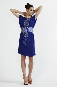 160/S91318 Printed Rectangle Dress with Sequins  900/S97355 Obi Narrow