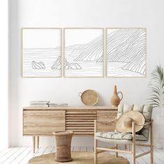 Gray Big Sur Coastline Modern Triptych Set of Three Wall Art Prints or Canvas