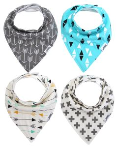 Matimati Baby Bandana Drool Bibs, Unisex 4-Pack Organic Cotton, Cute Baby Gift for Boys & Girls (Arrows & Triangles)