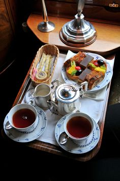 Afternoon tea on the Venice-Simplon Orient Express.