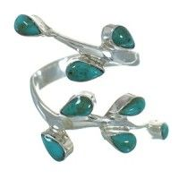 Turquoise Authentic Sterling Silver Jewelry Southwestern Ring Size 8 AX89212
