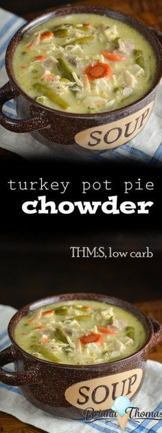 This Turkey Pot Pie Chowder is a great way to repurpose turkey leftovers!  (I'm sure a ham variation would be good too!)  THM:S, low carb, gluten/egg/nut free