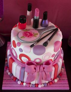 Pamper Party Birthday Cake - 100% edible (except for the cake boards!)