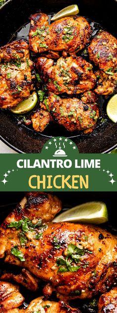 Quick Dinner Recipes, Easy Chicken Recipes, Turkey Recipes, Pork Recipes, Cilantro Lime Marinade, Cilantro Lime Chicken, Crockpot Chicken Thighs, Boneless Chicken, Baked Chicken