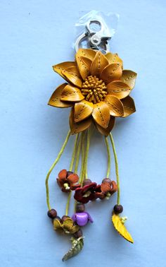 Liz colorful leather flower Bag / Purse Charm Key Chain Ring - yellow. $19.00, via Etsy.