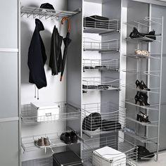 Kaapista ulosvedettävä kenkäteline on helppo ja tyylikäs tapa säilyttää kenkiä! Säilytystorniin mahtuu 16 kenkäparia, ja tiheän pohjaverkon ansiosta myös korkokengät pysyvät hyllyssä. #lankajamuovi #koti #toimisto #säilytys #vaatekomero #kengät #sisustus #interior #sisustsussuunnittelu #tilasuunnittelu #tilaratkaisu #vaatekaappi #tukkumyynti #yritysmyynti #helakeskus Closet, Home Decor, Armoire, Decoration Home, Room Decor, Closets, Cupboard, Wardrobes, Home Interior Design