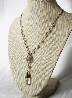 White Freshwater Pearl Crystal Briolette and by BeadedDetails, $37.00
