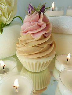 Gorgeous handmade natural cupcake soap from Botanicals range. Lace Cupcakes, Cupcake Bath Bombs, Soap Cake, Christmas Soap, Soap Carving, Cold Process Soap, Soap Recipes, Home Made Soap, Handmade Soaps