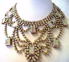 *JAWDROPPING* VINTAGE SIGNED BIJOUX MG CZECH GLASS RHINESTONE NECKLACE!!! G506