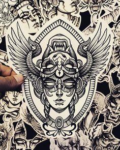 Girl Face Tattoo, Face Tattoos, Body Art Tattoos, Sleeve Tattoos, Kali Tattoo, Demon Tattoo, Traditional Tattoo Sketches, Neo Traditional Tattoo, Sketch Style Tattoos