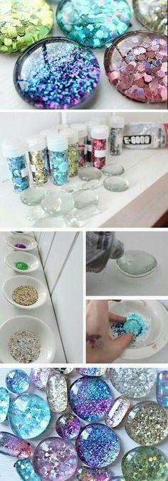 Cute craft glitter stones