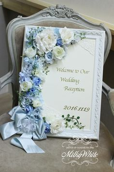 """""""Lovely welcome board"""" Crepe Paper Flowers, Paper Flower Backdrop, Silk Flowers, Wedding Welcome Board, Welcome Boards, Wedding Cards, Diy Wedding, Wedding Flowers, Flower Frame"""