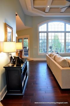 Love the floor and paint combo!! - Palladian Blue by Benjamin Moore.