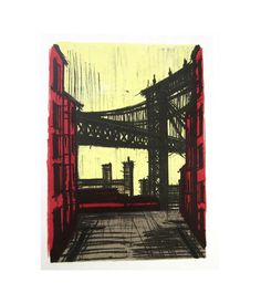 Mid Century Bernard Buffet New York II  lithograph reproduction New York Skyline Cityscape Bridge