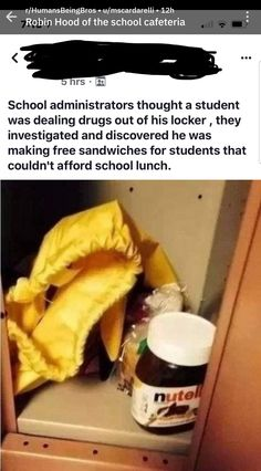 Robin Hood of the school cafeteria - - More memes, funny videos and pics on Really Funny Memes, Stupid Funny, Hilarious, Sweet Stories, Cute Stories, Human Kindness, Touching Stories, Faith In Humanity Restored, We Are The World